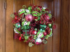 Whimsical Christmas Wreath with Metal Presents by HertasWreaths on Etsy