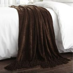 Charlotte Thomas Chenille Throw in Chocolate