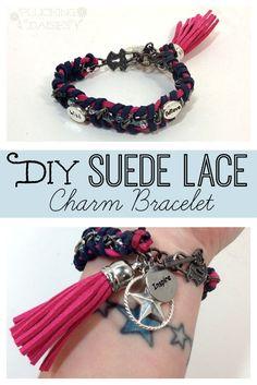 DIY Suede Lace Charm Bracelet