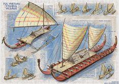 Sea Crafts, Water Crafts, My Fantasy World, Fantasy Art, Polynesian Culture, Boat Design, Character Design References, Medieval Fantasy, Fishing Boats