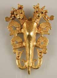 "Pre-Columbian Art / Diquis Gold Pendant of a Double-Headed Sea Horse - FJ.6321, Origin: Costa Rican/Panamanian Border Area, Circa: 500 AD to 1550 AD, Dimensions: 4"" (10.2cm) high, Collection: Pre-Columbian, Style: Diquis, Medium: Gold. The stylized representation of animals must surely relate to rituals performed by shamans; probably connected with fertility rites or rituals for the gathering of power."