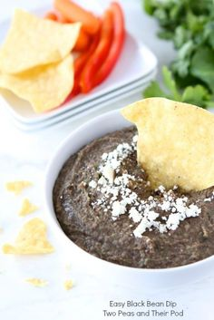 Easy Black Bean Dip from www.twopeasandtheirpod.com This dip only takes 5 minutes to make!