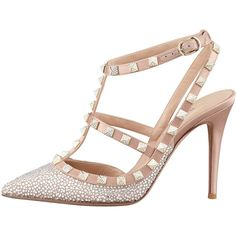 Valentino Rockstud Crystallized T-Strap Slingback, Poudre (€3.730) ❤ liked on Polyvore featuring shoes, sandals, valentino, valentino sandals, sling back shoes, slingback sandals, sling back sandals and slingback shoes