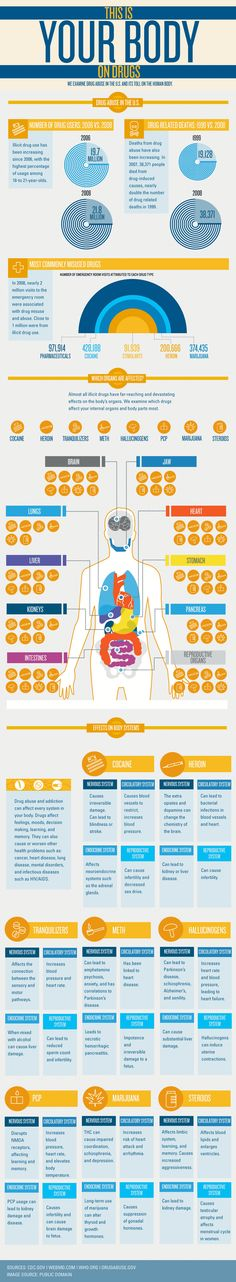 Drugs impact every organ in the body. In this easy to read graphic, we demonstrate the impact of the most commonly abused drugs on the body's organs and its systems. www.lakeviewhealth.com