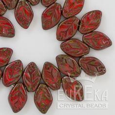 Eureka Crystal Beads - 12x7mm Leaf CORAL PICASSO Czech Glass Beads (25 pcs), $2.55 (http://www.eurekacrystalbeads.com/12x7mm-leaf-coral-picasso-czech-glass-beads-25-pcs/)