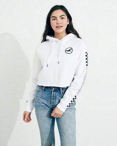 ba1c3ce86eaa Checkerboard Graphic Crop Hoodie Sweatshirts