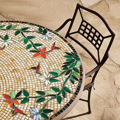 KNF - Neille Olson Mosaics Caramel Hummingbird Collection |  -- Hummingbird detail. Can use the spots of brighter colors as inspiration for the tableware, napkins, placemats, etc.