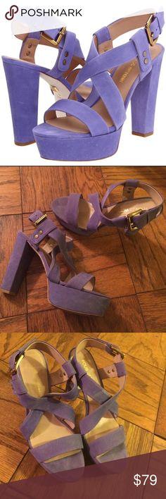 Pour La Victoire blue purple nubuck platform heels Cute and comfy platform heel sandals. Only worn a few times, in excellent condition. Size 8. Pour La Victoire brand. No trades. Light blue/ purple shade. Very unique Pour la Victoire Shoes Heels
