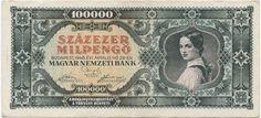 100000 Milpengö 1946 (Mädchen in Tracht) Ungarn Zweite Republik