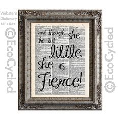 New to EcoCycled on Etsy: Shakespeare Little But Fierce 3 Midsummer Night's Dream on Vintage Upcycled Dictionary Art Print Book Art Print Repurposed Recycled (10.00 USD)