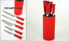 SOPORTE ROJO ACRILICO CON 5 CUCHILLOS  Medidas: 22.5X11.5 cm  Iva incluido  Más colores disponibles