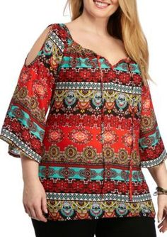 New Directions Red  Lime Plus Size Mixed Print Cold Shoulder Blouse