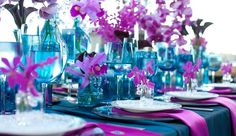 Tablescape - Centerpiece - Blue & Orchid www.tablescapesbydesign.com https://www.facebook.com/pages/Tablescapes-By-Design/129811416695