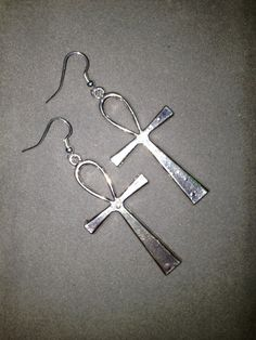 Egyptian Ankh Love Silver Earrings by LitteredNation on Etsy, $14.00