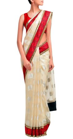 Sabyasachi Ivory polka dot sari with matha patti border