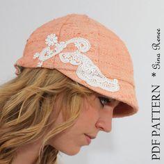 Newsboy hat pattern. Cloche hat pattern. di GinaReneeDesigns