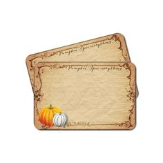 Thanksgiving Recipe Cards, Pumpkin Recipe Card Set, Rustic Fall Bridal Shower Recipe Cards, Pumpkin Spice, Hostess Gift, Set of 12