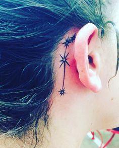 Aries constellation tattoo behind ear