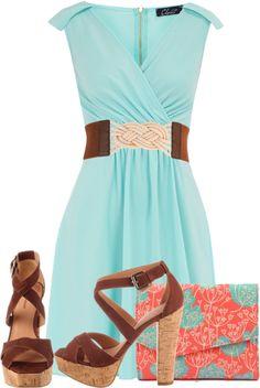 """Aqua Dress"" by styleofe on Polyvore. Minus the heels. Lol"