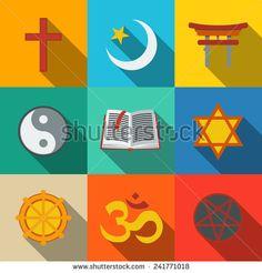 World religion symbols flat set with - christian, Jewish, Islam, Buddhism…