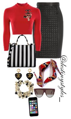 """""""Untitled #124"""" by iamdestinnny on Polyvore featuring Roberto Cavalli, Boohoo, Chanel, Dolce&Gabbana, CÉLINE, women's clothing, women, female, woman and misses"""