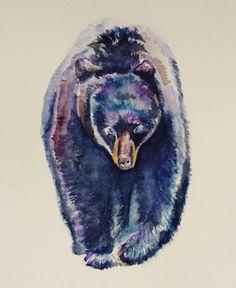 #watercolor #watercolorpractice #animal #bear #doodle #bluebear #blue #violet #shminke #illustration