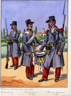 French; Light Infantry, 22nd Light Infantry, Voltigeur, 14th Light Infantry, Chasseur Drummer & 22nd Light Infantry, Carabiner Cornet. Seige of Rome 1849 by H.Boisselier