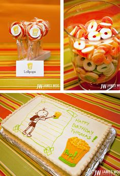 Diary of a Wimpy Kid cake. Love the cheese touch walkway!!
