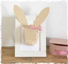 Tête de lapin personnalisable en papier 3D - géométrique - décoration chambre d'enfant fille - maison