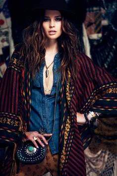 Free People Fall Lookbook- Denim paired with a long chunky knit, find this look at Gossip Boutique! #GossipRI