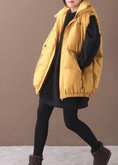 Elegant plus size warm winter coat yellow hooded sleeveless casual out – SooLinen Autumn Fashion Women Fall Outfits, Womens Fashion, Winter Coat, Linen Fabric, One Size Fits All, Casual Outfits, Winter Jackets, Plus Size, Warm