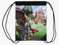 White Rabbit with Pocketwatch in the Wonderland Toadstool Forest by Imogen Smid Originally hand painted with acrylic paint. - Drawstring Bag, Redbubble, Product Design, Illustration, mushroom, Lewis Carroll, Alice in Wonderland, Red Queen, Castle, painting