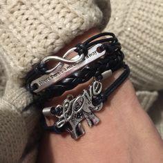| New |Black infinity love elephant charm bracelet  10 AVAILABLE, Brand new black infinity love elephant charm bracelet, adjustable straps, silver tone charms. Perfect everyday bracelet. BUNDLE & SAVE 25% ❌ TRADES ❌ Jewelry Bracelets