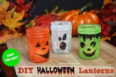 DIY Halloween Lanterns made from mason jars!  #halloweencrafts