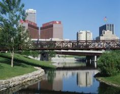 Waterway and skyline in Omaha.