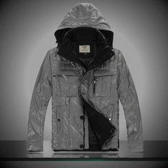 Armani Hooded Down Jacket For Men Grey $105.00
