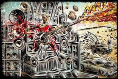 Doof Warrior Mad Max Art Prints on Etsy for sale! Mad Max, Brick Wall, Guitar, Art Prints, Artwork, Poster, Etsy, Design Ideas, Live