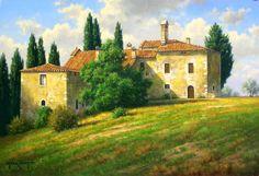 Pastel Landscape, Watercolor Landscape, Landscape Art, Landscape Paintings, Landscape Photography, Watercolor Paintings, Landscapes, French Villa, Italian Villa
