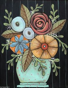 Prim Floral 11x14 ORIGINAL Canvas PAINTING Flowers Abstract FOLK ART Karla G..new painting for sale...