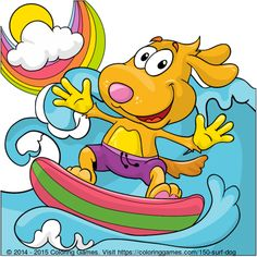 Surf dog coloring page #coloring #games #kids