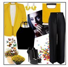 """Black and yellow (WIN TROPHY)"" by samra-dzabija ❤ liked on Polyvore featuring River Island, Simon Miller, Grandin Road, Joseph, Nearly Natural, VANINA, yellow and black"