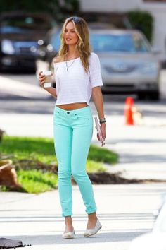 light blue pants and white crop shirt