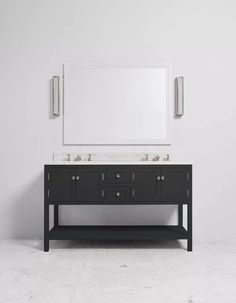 The Carter double vanity unit features open shelving and shaker style accents for a considered design that complements any bathroom design. Traditional Vanity Units, Double Vanity Unit, Shaker Style, Open Shelving, Cabinet, Cool Stuff, Storage, House, Furniture
