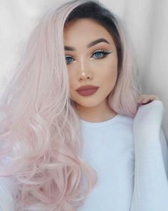 What's great about this color is that looks cool with dark roots too!   18 Pictures That Will Make You Want To Dye Your Hair Millennial Pink