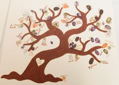 "Guest ""book"" I drew a tree on an 18""x18"" piece of card stock and provided stamp pads in fall colors and metallic pens for each guest to place their finger print and signature creating a custom piece of art."