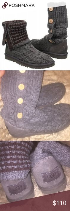 Ugg Leland Sweater Boot Authentic. Hardly worn. Great condition. They are gray with maroonish stripes❄️ UGG Shoes Winter & Rain Boots