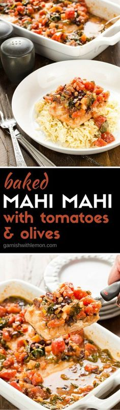 Intimidated by cooking fish? This simple Baked Mahi Mahi with Tomatoes and Olives is not only delicious but nearly foolproof!