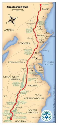 Appalachian Trail Map _ This is the goal for when we retire & have the time & experience..lets hope the stamina too !