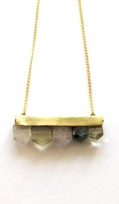 Agate necklace - Plümo Ltd. no way!  not for the money they are asking!  Striking faceted agate beads on thick brass setting hanging from gold coloured metal figaro style chain with brass screw fastening. Buffed brass designer tag and mini star on closure loop.