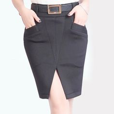 Find More Skirts Information about New Formal High Waist Front Open Fork Slim Elastic Pencil Skirt Knitting Short Saia Feminina Package Hip Faldas Summer 2015 C612,High Quality Skirts from H-O-M FASHION STORE on Aliexpress.com